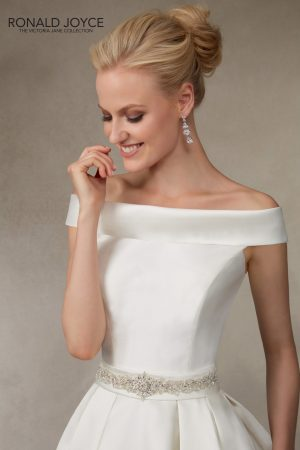 Classic looking bateau neck mikado gown - Jodie – Full Length