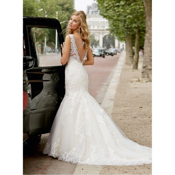 A lace over organza fishtail gown - Erin 69009