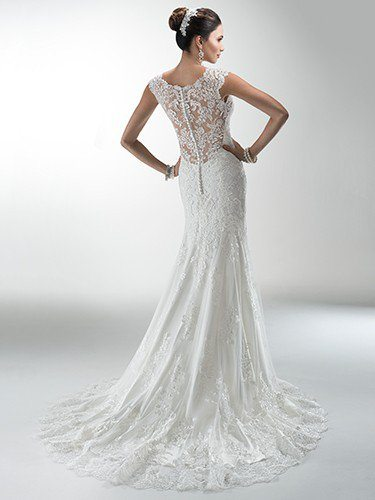 Delicate corded lace on tulle skims - Melanie