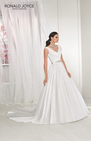 A soft satin A-line gown - Tess 18219