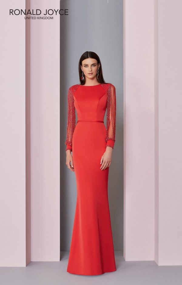 Floor length crepe dress -29301