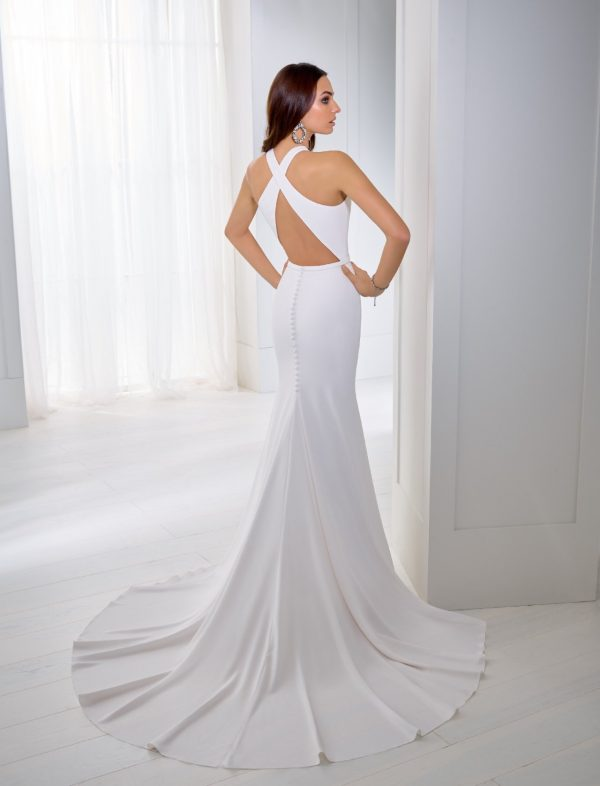 Crepe fit and flare wedding dress - Tea 18255