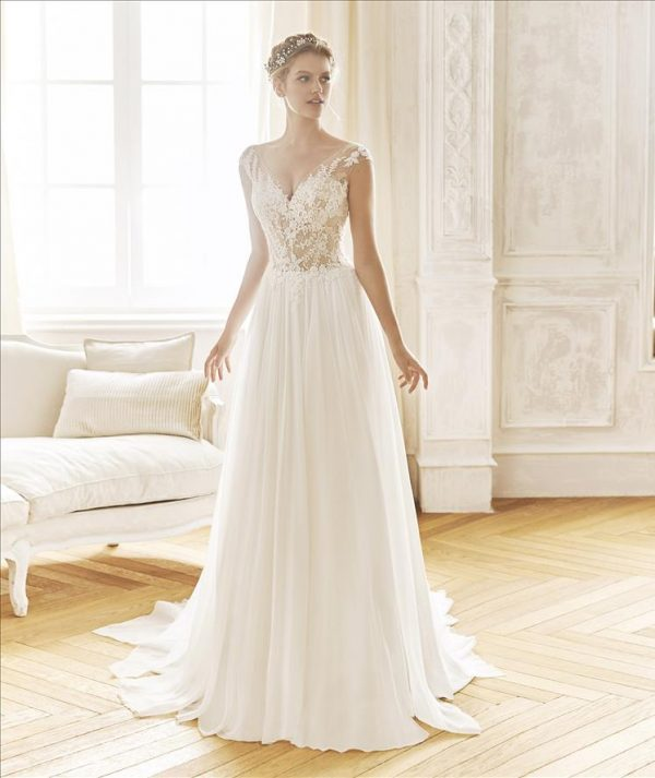 Chiffon, organza and lace gown - Baltimore