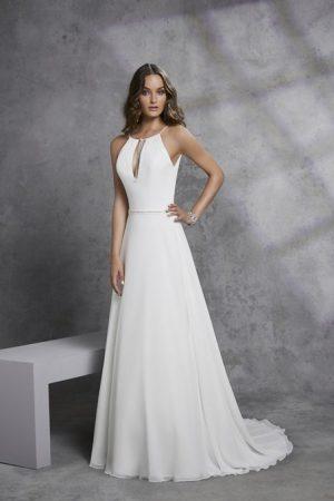 Classic modified A-Line Crepe and Chiffon gown - Ignacia 18307
