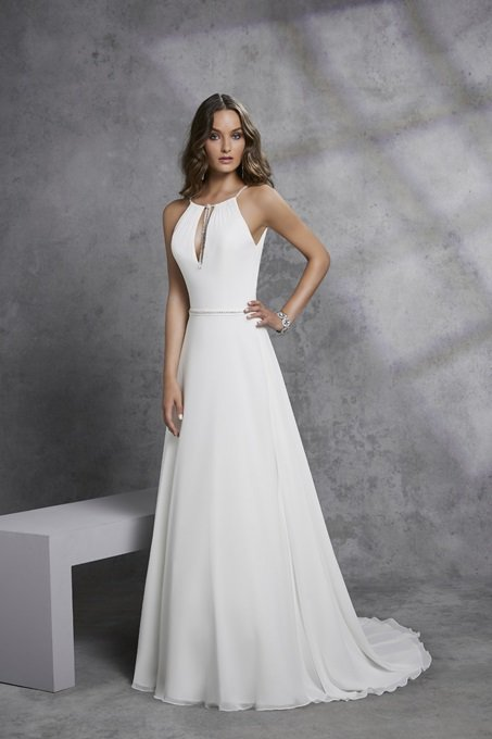 Classic modified A-Line Crepe and Chiffon gown - Ignacia 18307