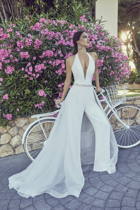 Crepe Jumpsuit, Modern Styling in this Crepe Jumpsuit with Organza detachable skirt