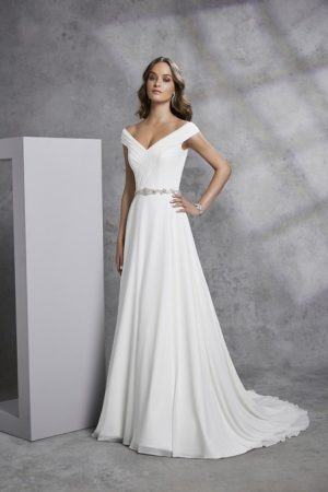 Classic Chiffon gown with Satin underskirt - Imogine 18316