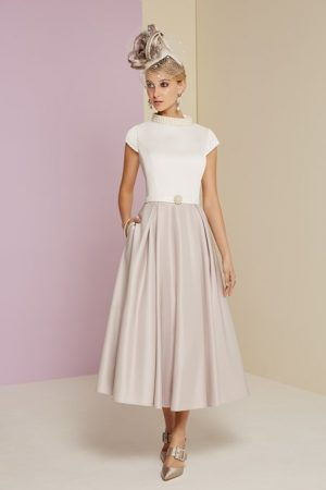 Satin backed crepe t-length dress - 29341