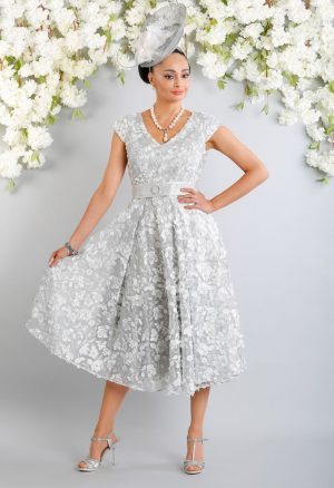 A-Line textured applique lace dress - Luis Civit D896 S439 C410