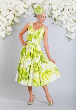 Vibrant v-neck, sleeveless, t-length dress - Luis Civit D857 S541 C371