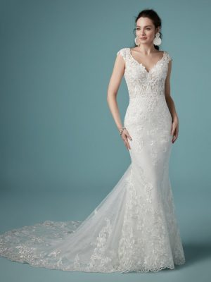 Beaded embroidered wedding dress - Celeste