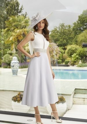 Grecian inspired tea length dress