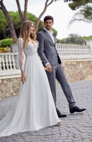 Romantic billowing chiffon and lace dress - Dina 69512