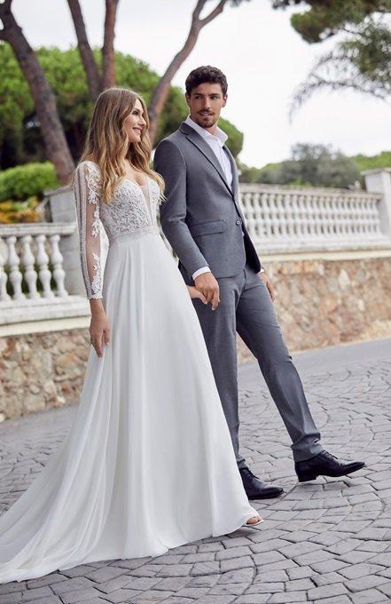Romantic billowing chiffon and lace dress - Dina 69512