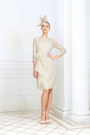 Knee length champagne checked dress - Luis Civit D811 403 030