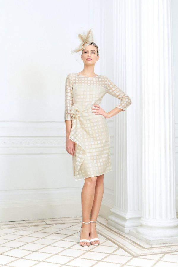 Knee length champagne checked dress - Luis Civit D811 403 030